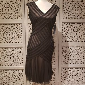 NWT London Times Tan and Black Fit and Flare Dress
